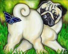 Fawn Pug & Butterfly Dog Art Print of Painting by Vern