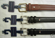 TOMMY HILFIGER MENS LEATHER BELT BLACK OR BROWN 32 34 36 38 40 42 NWT MSRP $45
