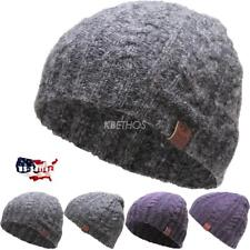 CLEARANCE SALE!! Short Cable Beanie Winter Ski Skully Striped Heather Colors