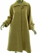 Vintage Green & Makofsky Pure Wool Lined Long Tan Coat Womens Petite Sz M-L USA