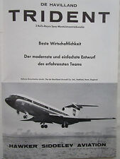 6/1962 PUB HAWKER SIDDELEY TRIDENT AIRLINER BEA AIRLINES ORIGINAL GERMAN AD