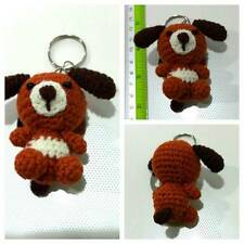 CHRISTMAS GIFT DOG #3 POOCH CANINE BROWN KEYCHAINS KEY RINGS CROCHET HANDCRAFT