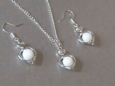 Snow White Jade Love Heart Necklace & Earrings Set, Christmas, Birthday Gift!