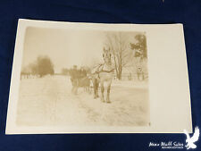 Vintage RPPC White Horse Pulling Sleigh Cutter Snowy Winter ALL BUNDLED UP
