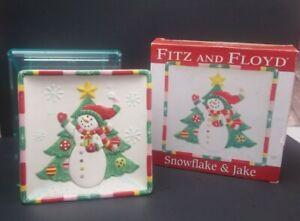Fitz & Floyd Snowflake & Jack Canape Plate Christmas Snowman