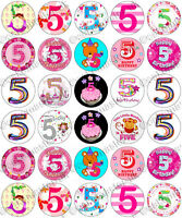 30 x Girls 5th Birthday Party Edible Rice Wafer Paper Cupcake Toppers