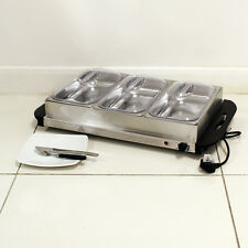 300W STAINLESS STEEL 3 X 2.5L PAN LARGE CATERING FOOD WARMER HOT PLATE 7.5L TRAY