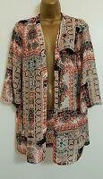 NEW Wall*s Mosaic Paisley Print Coral Black White Kimono Top Cardigan