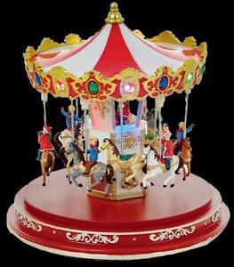 Animated Lit Carousel - 14 Multi Coloured Leds 24.5cm Tall Christmas Decoration