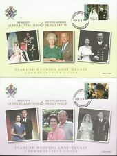 ST KITTS 2007 QE11 DIAMOND WEDDING ANNIVERSARY FDC'S X 2 USED