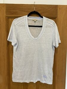 Gorgeous Women's BURBERRY Light Blue 100% Linen T Shirt Top Size M Worn Once