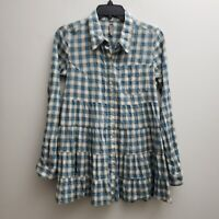 Free People Flare Tunic Top XS Blue Black Plaid Button Front Long Sleeves Boho