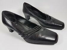 Clarks cushion soft black leather mid heel shoes uk 5.5