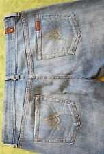 "7 FOR ALL MANKIND unisex JEANS ""A"" POCKET crystal BOOT CUT LIGHT WASH sz 28"