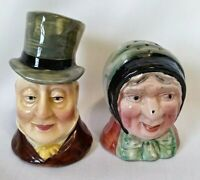 Vintage Dickens Era Style Hand Painted Old Man And Woman Salt And Pepper Shakers