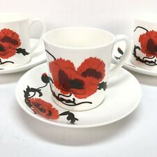 Wedgwood Susie Cooper Corn Poppy Made in England Bone China Cup & Saucer Mug