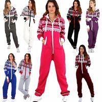 Adult Ladies Zip Hooded Aztec 1Onesie Womens Fleece Jumpsuit Playsuit All In One