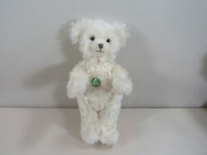"""Adorable 12"""" Hermann Germany Jointed White Jointed Growler Bear with Pink Dress"""