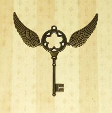 Winged 3 inch Bronze Skeleton Key w/ Wings Harry Potter Themed Necklace Pendant