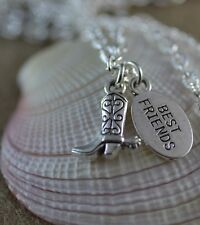 NC026S Best Friend Cowboy Boot Necklace, Cowgirl, Country, Riding Boot, Spurs