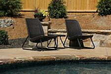 3 Piece Brown Resin Patio Bistro Seating Set Outdoor Home Furniture Chair Table