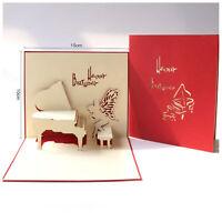 1 X Music 3D Pop Up Greeting Cards Wedding Birthday Christmas Postcard Envelope
