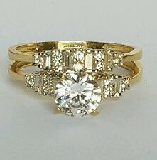 1.35 C 10k yellow Gold 2 piece round cut Engagement Wedding Ring band  Set  s 7
