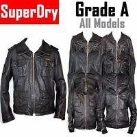 SUPERDRY Mens Designer Leather Jackets GRADE A Vintage Small Medium Large 40 42