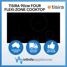 Tisira 90cm Black Glass Induction Cooktop Hob with Flexi-Zone (TIS90B)