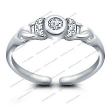 White Gold Fn 925 Sterling Silver Round White Cz Channel Set Solitaire Toe Ring