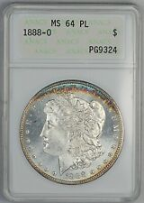 1888-O ANACS MS 64 PL United States Morgan Dollar - Old Small Holder - Toning