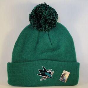 San Jose Sharks NHL Zephyr Cuffed Knit Pom Hat Green