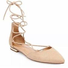 NEW! Stunning VEGAN Faux Suede 'Gretel' Ballet Flats - Ties & Gold Accent Heels