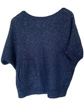River Woods Women Short Sleeve Navy Sparkle Jumper Knit Top Size S2(M)