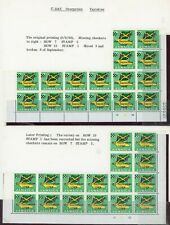 Jamaica 1969 Overprint Varieties & Flaws - 3c SG282, 2 Blocks  Varieties Noted