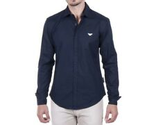 -50% Mens Emporio Armani Jeans Navy Blue Casual Slim Shirt Size S