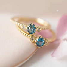 Fashion Womens Natural Blue Turquoise Gemstone Solid Simple 925 Silver Ring Gift