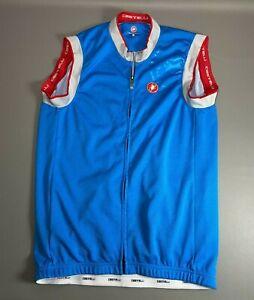 Castelli Blue Full Zip Sleeveless Cycling Jersey Vest Biking CLEAN | Size L / XL