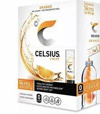 CELSIUS Orange On-the-Go Powder Stick Packs, Zero Sugar (14 Sticks per Pack)