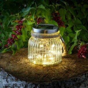 Solar Glass Jar LED Outdoor Garden Ornament Hanging Fence Patio Tree Light Decor