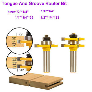 """Tongue and Groove Router Bit Set 1/2"""" 1/4"""" Shank T-type 3-tooth Useful Cutter"""