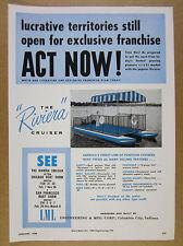 1958 Riviera Cruiser Pontoon Boat vintage print Ad