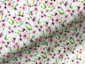 100% Cotton Fabric John Louden cherry blossom floral flowers pastels