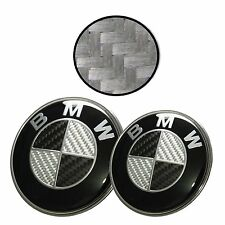 NEW For BMW 82mm + 74mm Black Silver Carbon Fiber Emblems Trunk Hood Badge Set