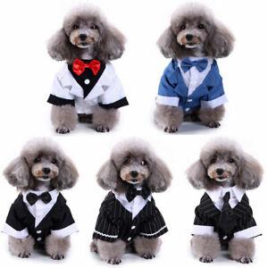 Pet Dog Dress Suit Striped Tuxedo Bow Tie Wedding Halloween Xmas Funny Costume