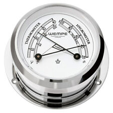 Wempe Chronometer Comfortmeter Pirat II verchromt Ø 96mm Thermometer Hygrometer