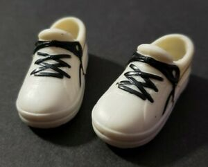 BARBIE DOLL SHOES KEN WHITE SNEAKERS TENNIS SHOES BLACK LACES FASHION STYLE CUTE