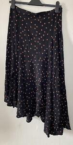 Topshop Black & Orange Polka Dot Spotty Midi Skirt Size 12 Asymmetric Hem