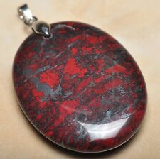 """Extremely Red Natural Bloodstone 925 Sterling Silver Clasp 2"""" Pendant #P09568"""
