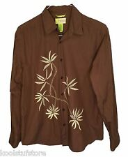 Cubavera Mens Brown Cotton Embroidered Palm Long Sleeve Button Down Shirt Medium